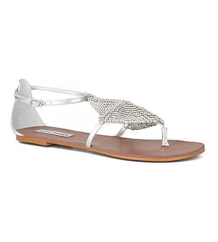 STEVE MADDEN Shineyy metallic diamanté sandals (Silver-synthetic