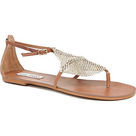 STEVE MADDEN Shineyy metallic sandals (Gold-leather