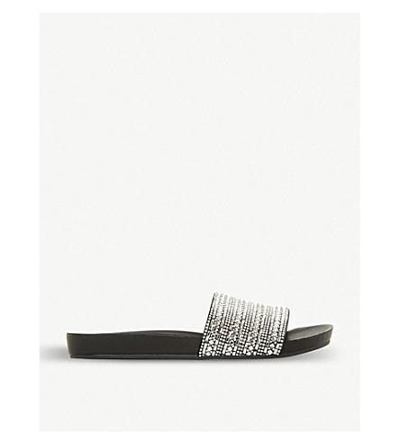 STEVE MADDEN Fancy rhinestone-embellished flat sandal (Black
