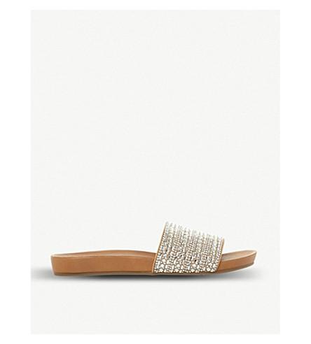 STEVE MADDEN Fancy rhinestone-embellished flat sandal (Natural