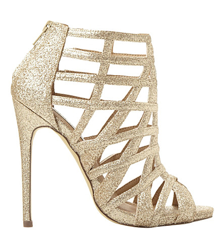 STEVE MADDEN Caged glitter heeled sandals (Gold glitter