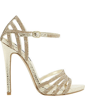 STEVE MADDEN Cagged diamante strappy heeled sandals