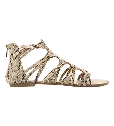 STEVE MADDEN Cretee braided Gladiator ankle sandals (Natural-reptile+syntheti