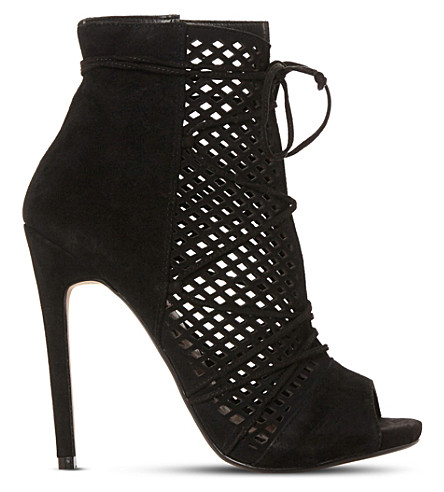 STEVE MADDEN Maddye suede peep-toe ghillie ankle boots (Black-suede