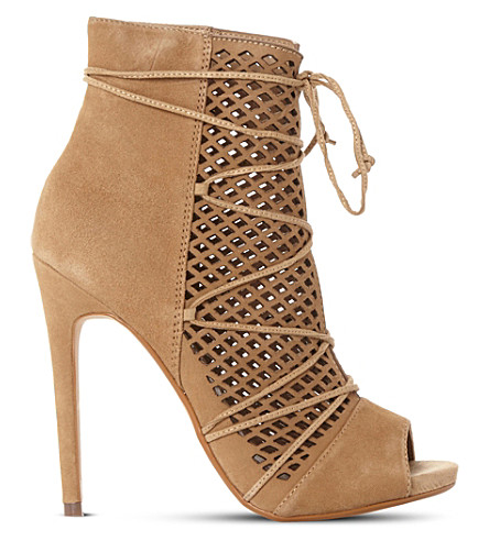 STEVE MADDEN Maddye suede peep-toe ghillie ankle boots (Sand-suede