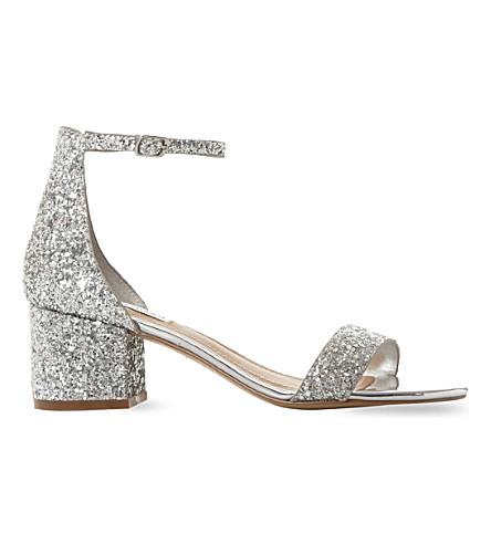 STEVE MADDEN Irenee glitter block heel sandals (Silver-synthetic