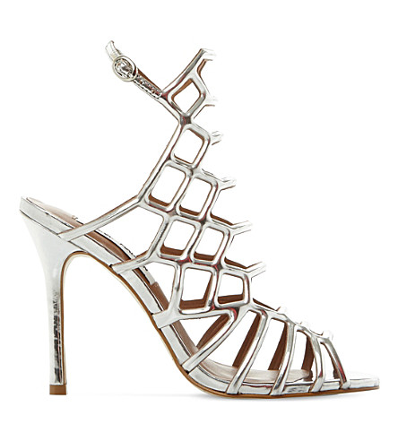 STEVE MADDEN Slithur caged metallic sandals (Silver-synthetic