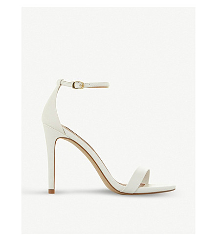 STEVE MADDEN Stecy SM faux-leather heeled sandals (White-plain+synthetic