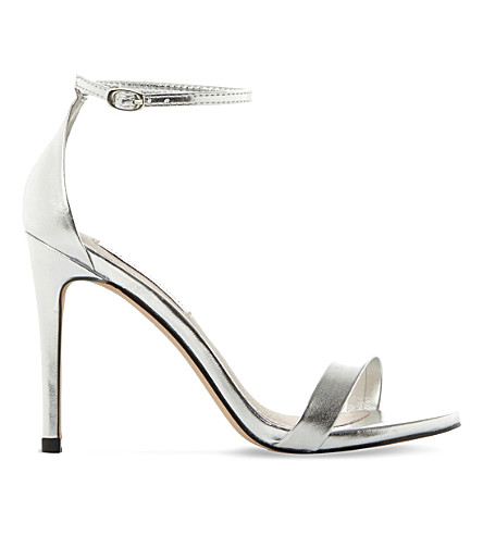 STEVE MADDEN Stecy metallic faux-leather sandals (Silver-synthetic