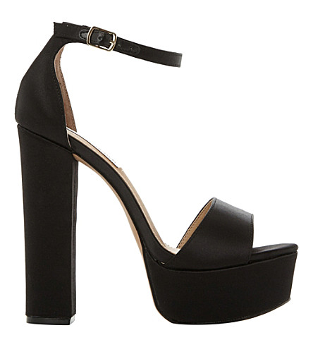 STEVE MADDEN Gonzo satin platform sandals (Black-fabric