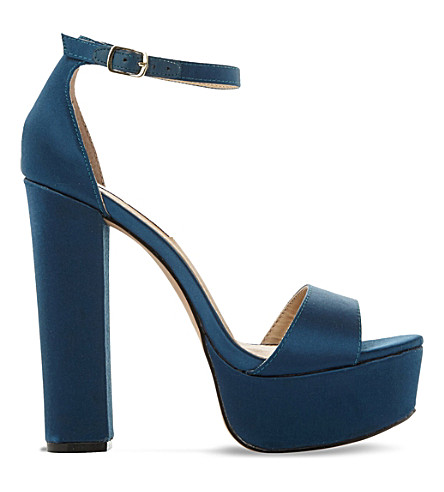 STEVE MADDEN Gonzo satin platform sandals (Teal-fabric