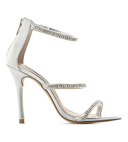 STEVE MADDEN Wren-R metallic strappy sandals (Silver-synthetic