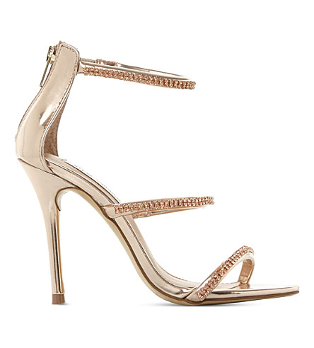 STEVE MADDEN Wren-R metallic strappy sandals (Rose+gold-synthetic