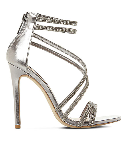 STEVE MADDEN Sweetest embellished heeled sandals (Pewter-leather