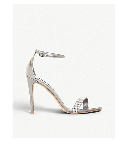 STEVE MADDEN Stecy metallic faux-leather and diamanté sandals (Pewter