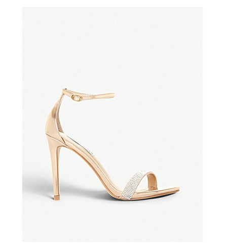 STEVE MADDEN Stecy metallic faux-leather and diamanté sandals (Rose+gold