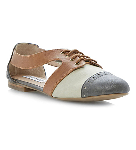 STEVE MADDEN Cori cut-out Oxford shoes (Grey-plain synthetic