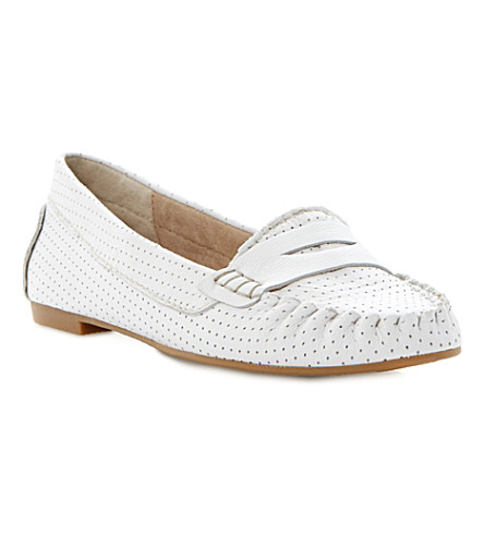STEVE MADDEN Murphey perforated leather loafers (White-plain synthetic