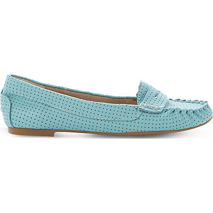 STEVE MADDEN Murphey perforated leather loafers (Turquoise-leather