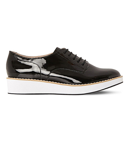 STEVE MADDEN Raant patent flatform brogues (Black-synthetic