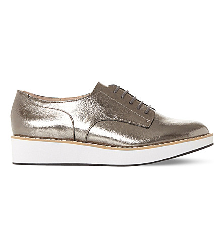 STEVE MADDEN Raant metallic flatform brogues (Pewter-synthetic