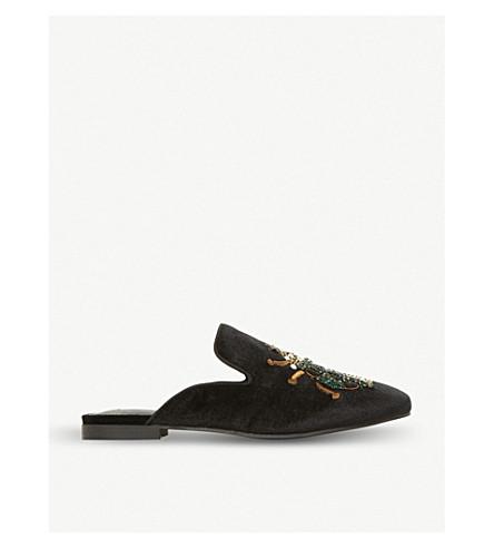STEVE MADDEN Hugh beetle motif backless loafers (Black-velvet