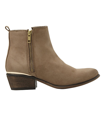 STEVE MADDEN Side zip leather ankle boots (Stone-leather