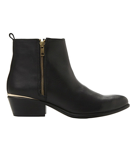 STEVE MADDEN Side zip leather ankle boots (Black-leather