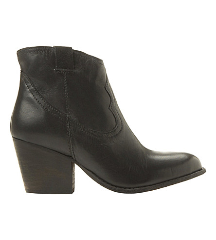 STEVE MADDEN Western leather ankle boots (Black-leather