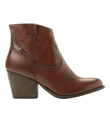 STEVE MADDEN Western leather ankle boots (Tan leather