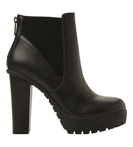 STEVE MADDEN Chunky cleated ankle boots (Black leather
