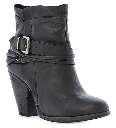 STEVE MADDEN Raffa buckle trim ankle boots (Black-nubuck
