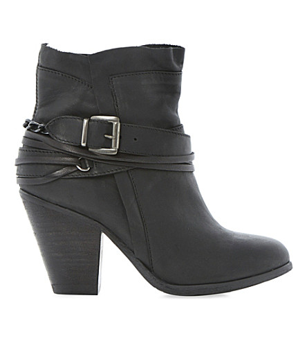 STEVE MADDEN Raffa buckle trim ankle boots (Black leather