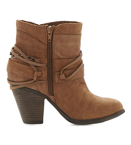 STEVE MADDEN Raffa buckle trim ankle boots (Tan-leather