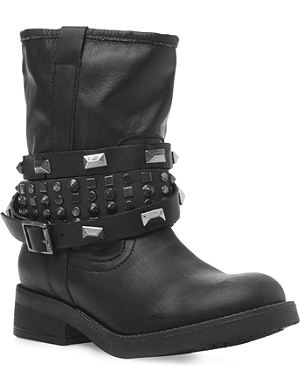 STEVE MADDEN Mightee calf biker boot with studded straps
