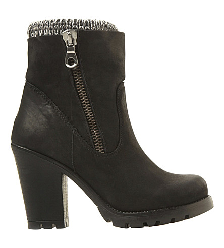 STEVE MADDEN Knitted detail high-heel boots (Black-leather