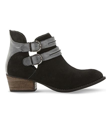 STEVE MADDEN Raskal double-strap suede boots (Black-suede