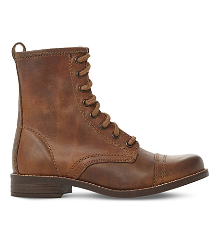 STEVE MADDEN Charrie 皮革摩托皮靴 (棕褐色皮革