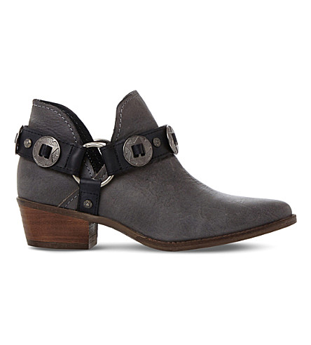 STEVE MADDEN Aces belt detail ankle boot (Grey-leather
