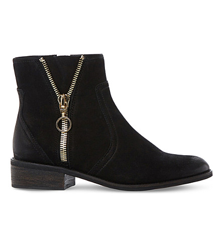 STEVE MADDEN Chance zip detail leather ankle boots (Black-leather