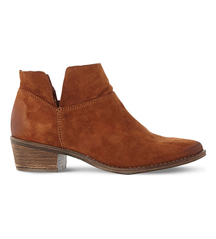 STEVE MADDEN Phoenix cutout suede ankle boots (Tan-suede