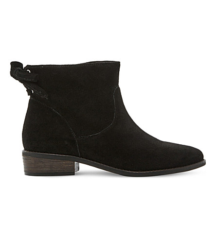 STEVE MADDEN Rear tie detail suede ankle boots (Black-suede