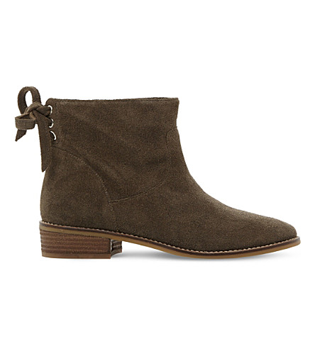 STEVE MADDEN Rear tie detail suede ankle boots (Brown-suede