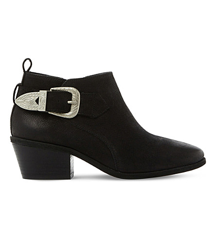 STEVE MADDEN Bradi buckle-detail leather ankle boots (Black-leather