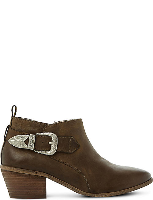 STEVE MADDEN Bradi buckle-detail leather ankle boots