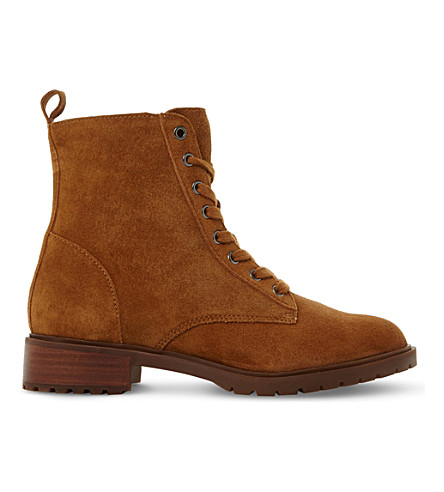 LADIES BROWN FLORAL OFFICER SM NUBUCK ANKLE BOOTS