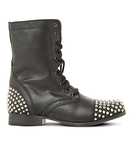 STEVE MADDEN Tarney studded leather boots (Black-leather