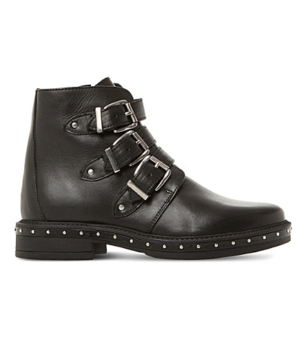 STEVE MADDEN Matika buckled biker boots (Black-leather