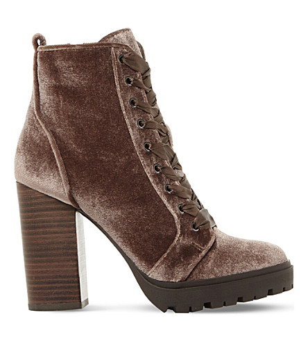 STEVE MADDEN Laurie velvet heeled ankle boots (Taupe-fabric