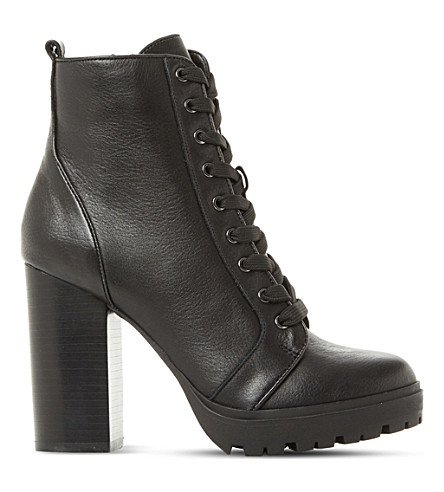 STEVE MADDEN Laurie leather heeled ankle boots (Black-leather